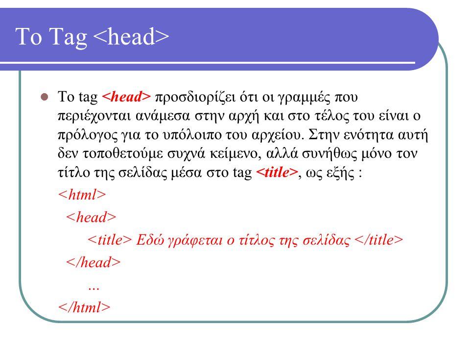 Οι Σύνδεσμοι (Links) – Παράδειγμα Παράδειγμα δημιουργίας συνδέσμου : Πηγαίνετε στην Αρχή Γράφουμε το κείμενο που θα χρησιμοποιηθεί ως σύνδεσμος ανάμεσα στα tags και και προσθέτουμε στην ιδιότητα href του tag το όνομα του αρχείου στο οποίο θέλουμε να οδηγεί ο σύνδεσμος.