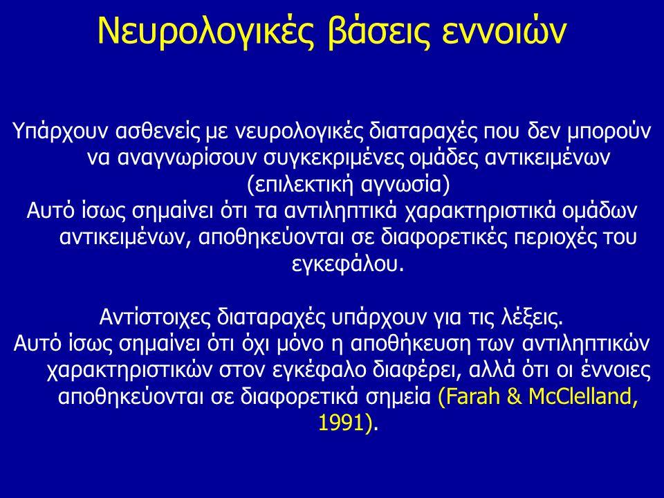 Νευρολογικές βάσεις εννοιών Υπάρχουν ασθενείς με νευρολογικές διαταραχές που δεν μπορούν να αναγνωρίσουν συγκεκριμένες ομάδες αντικειμένων (επιλεκτική