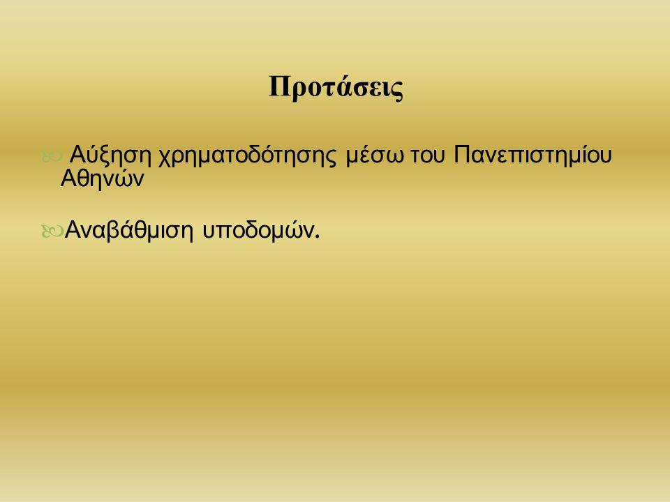 Προτάσεις Αύξηση χρηματοδότησης μέσω του Πανεπιστημίου Αθηνών Αναβάθμιση υποδομών.