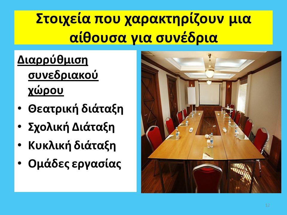 Στοιχεία που χαρακτηρίζουν μια αίθουσα για συνέδρια Διαρρύθμιση συνεδριακού χώρου Θεατρική διάταξη Σχολική Διάταξη Κυκλική διάταξη Ομάδες εργασίας 12