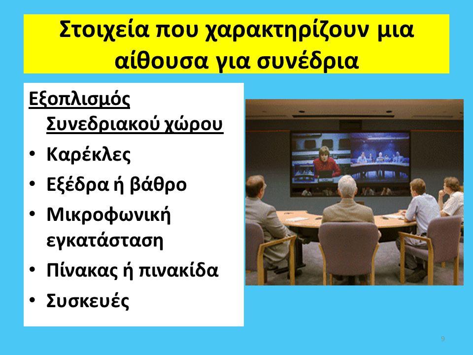 Στοιχεία που χαρακτηρίζουν μια αίθουσα για συνέδρια Εξοπλισμός Συνεδριακού χώρου Καρέκλες Εξέδρα ή βάθρο Μικροφωνική εγκατάσταση Πίνακας ή πινακίδα Συ