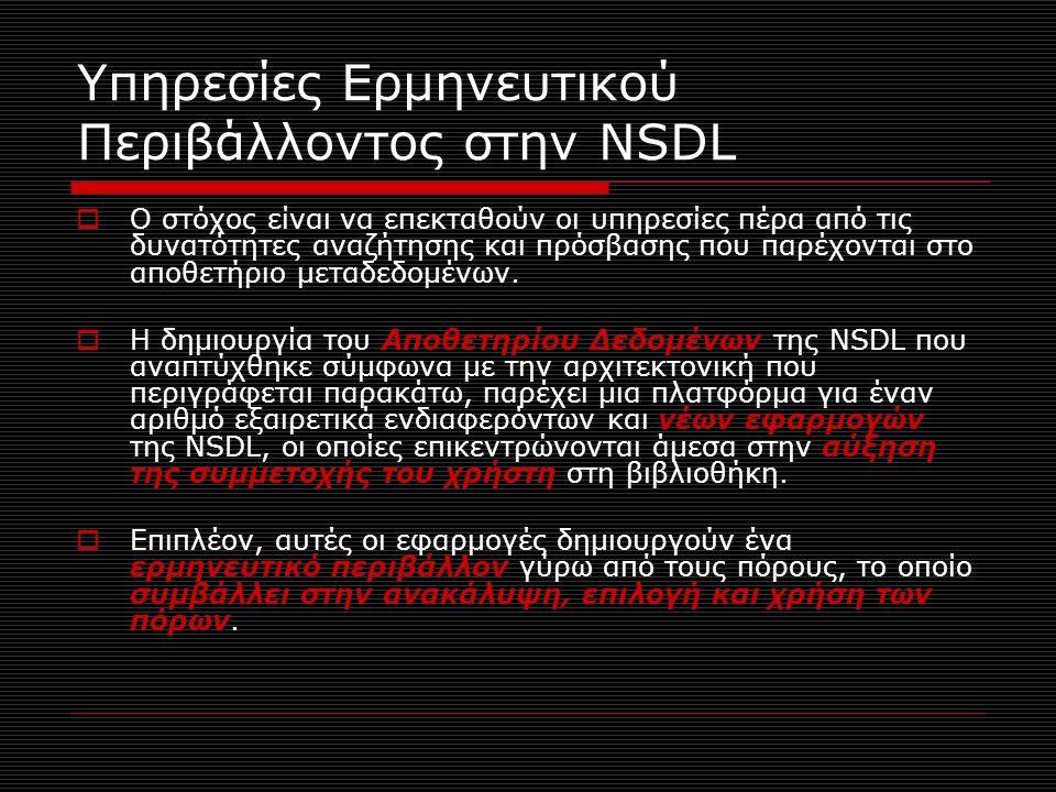 Υπηρεσίες Ερμηνευτικού Περιβάλλοντος στην NSDL  Ο στόχος είναι να επεκταθούν οι υπηρεσίες πέρα από τις δυνατότητες αναζήτησης και πρόσβασης που παρέχονται στο αποθετήριο μεταδεδομένων.