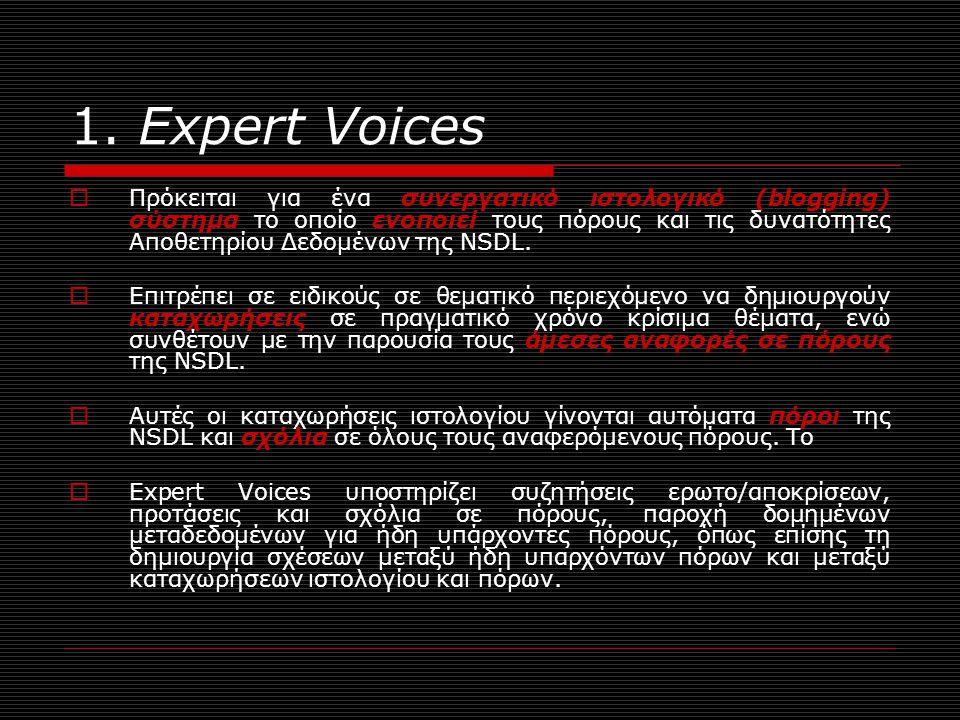 1. Expert Voices  Πρόκειται για ένα συνεργατικό ιστολογικό (blogging) σύστημα το οποίο ενοποιεί τους πόρους και τις δυνατότητες Αποθετηρίου Δεδομένων
