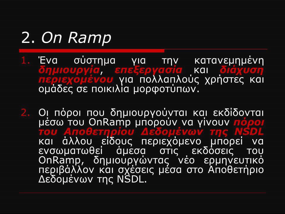 2. Οn Ramp 1.Ένα σύστημα για την κατανεμημένη δημιουργία, επεξεργασία και διάχυση περιεχομένου για πολλαπλούς χρήστες και ομάδες σε ποικιλία μορφοτύπω