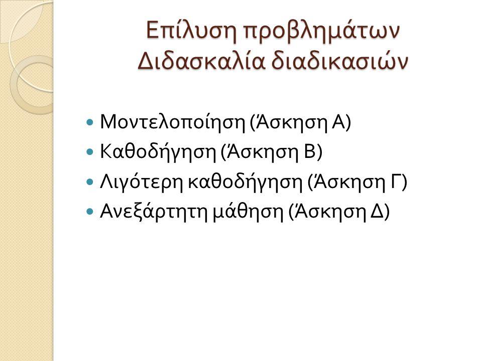 Επίλυση προβλημάτων Διδασκαλία διαδικασιών Μοντελοποίηση ( Άσκηση Α ) Καθοδήγηση ( Άσκηση Β ) Λιγότερη καθοδήγηση ( Άσκηση Γ ) Ανεξάρτητη μάθηση ( Άσκηση Δ )