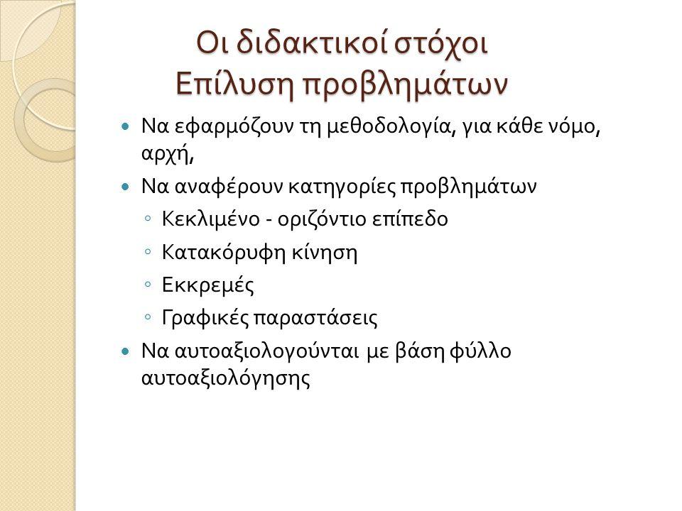 Μορφή Δραστηριοτήτων Εποπτεία + Ερώτημα ( οδηγία ) ◦ Ανοικτού τύπου : Να περιγράψετε το φαινόμενο με όρους ….