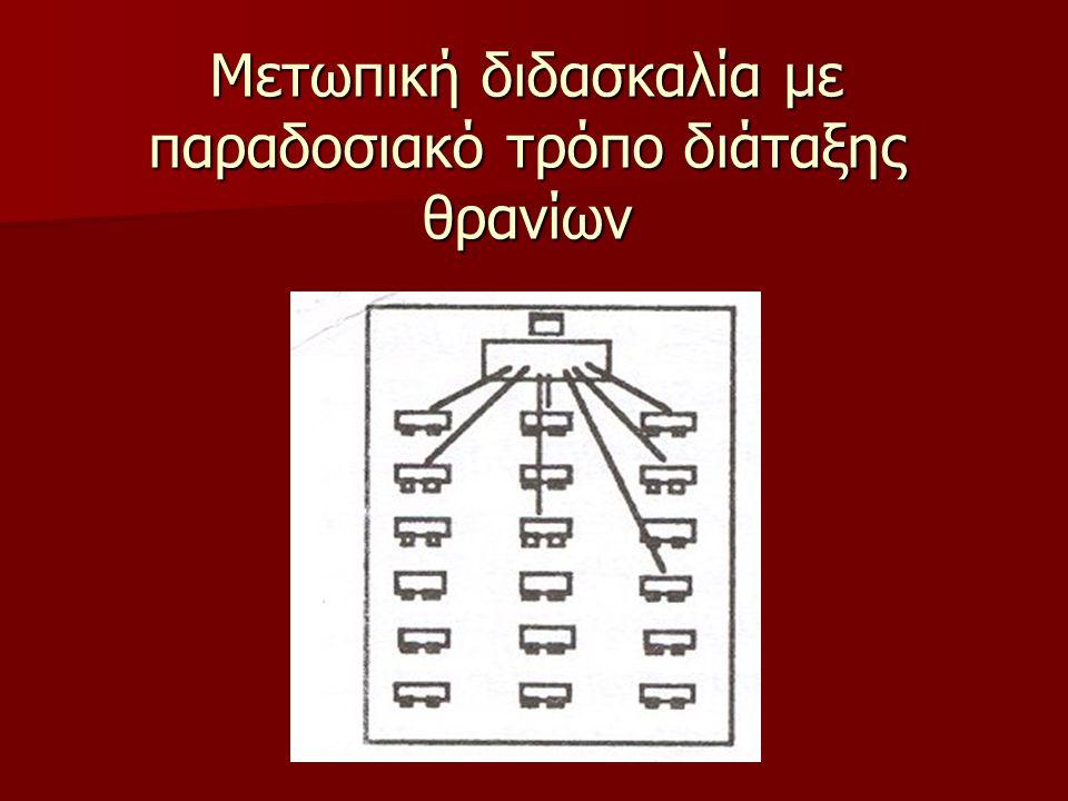 Μετωπική διδασκαλία με παραδοσιακό τρόπο διάταξης θρανίων