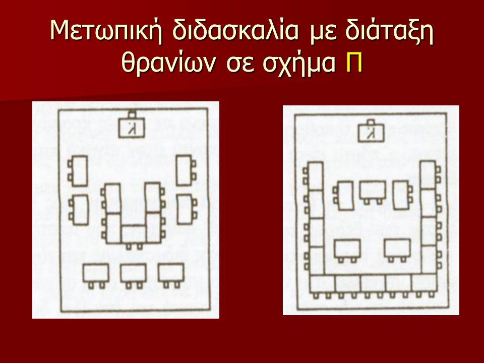 Μετωπική διδασκαλία με διάταξη θρανίων σε σχήμα Π