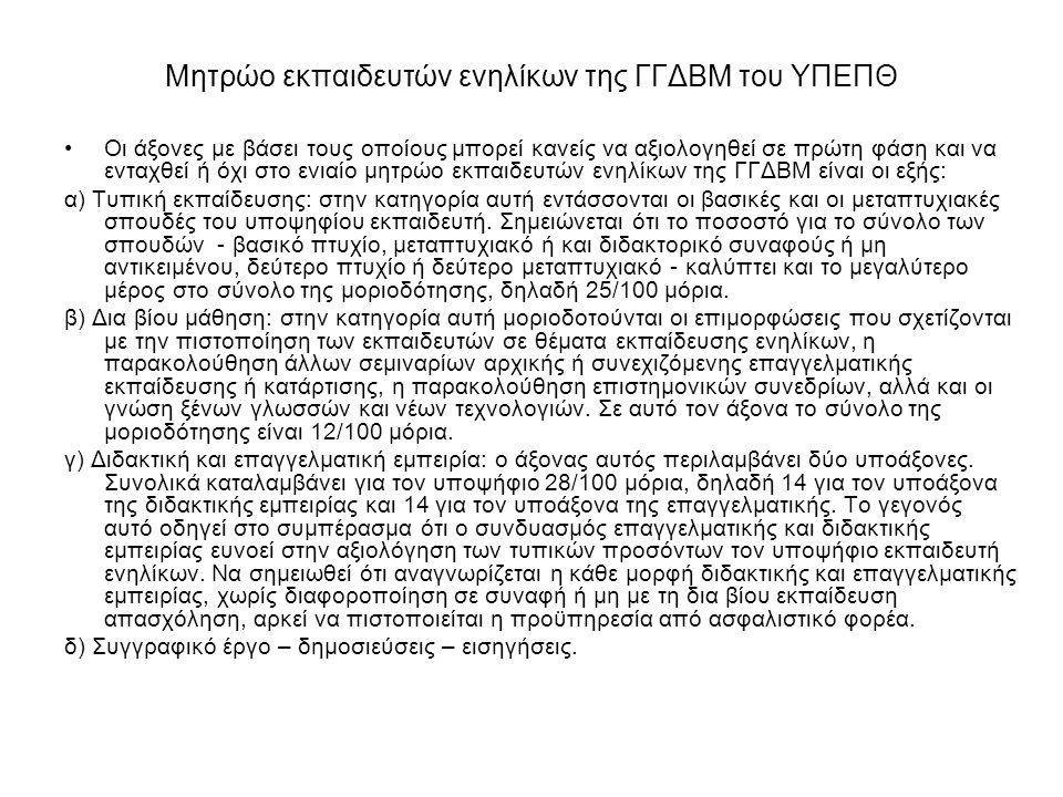Μητρώο εκπαιδευτών ενηλίκων της ΓΓΔΒΜ του ΥΠΕΠΘ Οι άξονες με βάσει τους οποίους μπορεί κανείς να αξιολογηθεί σε πρώτη φάση και να ενταχθεί ή όχι στο ε