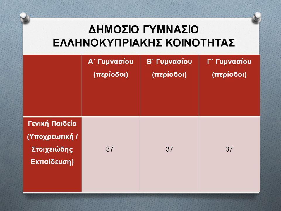 Α΄ Γυμνασίου ( περίοδοι ) Β΄ Γυμνασίου ( περίοδοι ) Γ΄ Γυμνασίου ( περίοδοι ) Γενική Παιδεία ( Υποχρεωτική / Στοιχειώδης Εκπαίδευση ) 37 ΔΗΜΟΣΙΟ ΓΥΜΝΑΣΙΟ ΕΛΛΗΝΟΚΥΠΡΙΑΚΗΣ ΚΟΙΝΟΤΗΤΑΣ