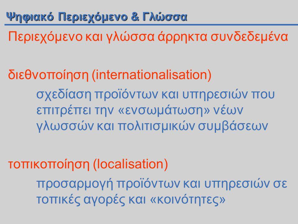 Ψηφιακό Περιεχόμενο & Γλώσσα Περιεχόμενο και γλώσσα άρρηκτα συνδεδεμένα διεθνοποίηση (internationalisation) σχεδίαση προϊόντων και υπηρεσιών που επιτρέπει την «ενσωμάτωση» νέων γλωσσών και πολιτισμικών συμβάσεων τοπικοποίηση (localisation) προσαρμογή προϊόντων και υπηρεσιών σε τοπικές αγορές και «κοινότητες»