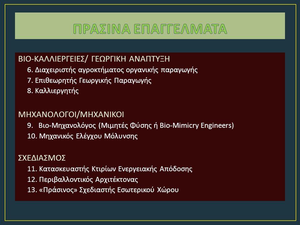 ΒΙΟ - ΚΑΛΛΙΕΡΓΕΙΕΣ / ΓΕΩΡΓΙΚΗ ΑΝΑΠΤΥΞΗ 6. Διαχειριστής αγροκτήματος οργανικής παραγωγής 7. Επιθεωρητής Γεωργικής Παραγωγής 8. Καλλιεργητής ΜΗΧΑΝΟΛΟΓΟΙ