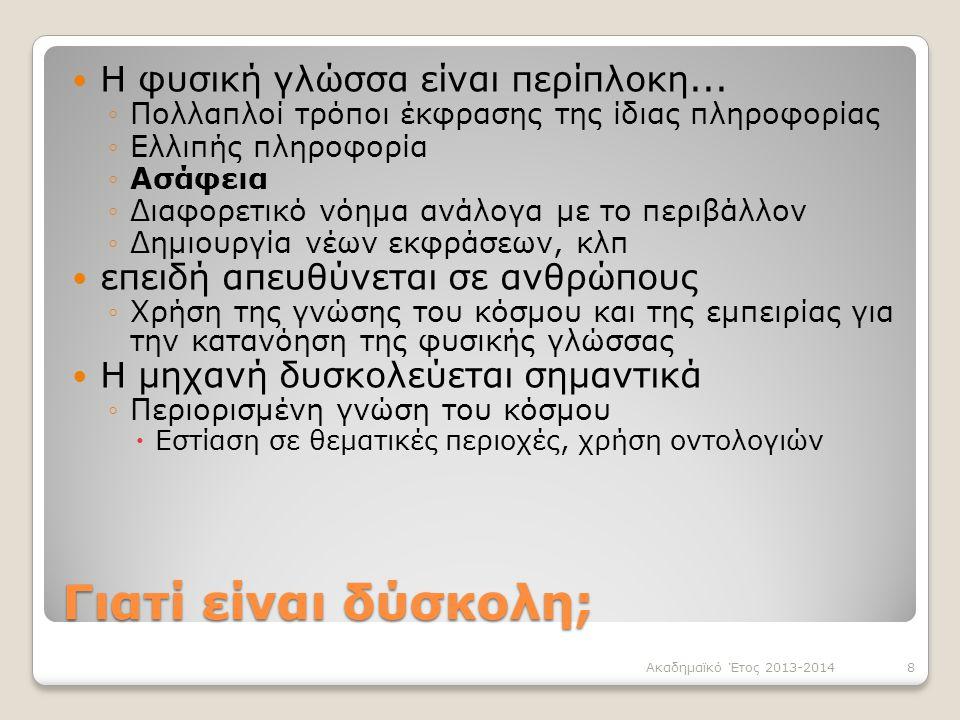 Γιατί είναι δύσκολη; Η φυσική γλώσσα είναι περίπλοκη... ◦Πολλαπλοί τρόποι έκφρασης της ίδιας πληροφορίας ◦Ελλιπής πληροφορία ◦Ασάφεια ◦Διαφορετικό νόη
