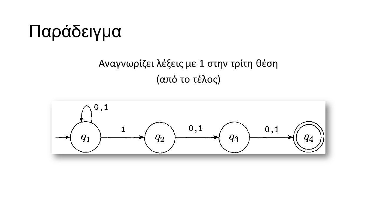 Παράδειγμα Αναγνωρίζει λέξεις με 1 στην τρίτη θέση (από το τέλος)