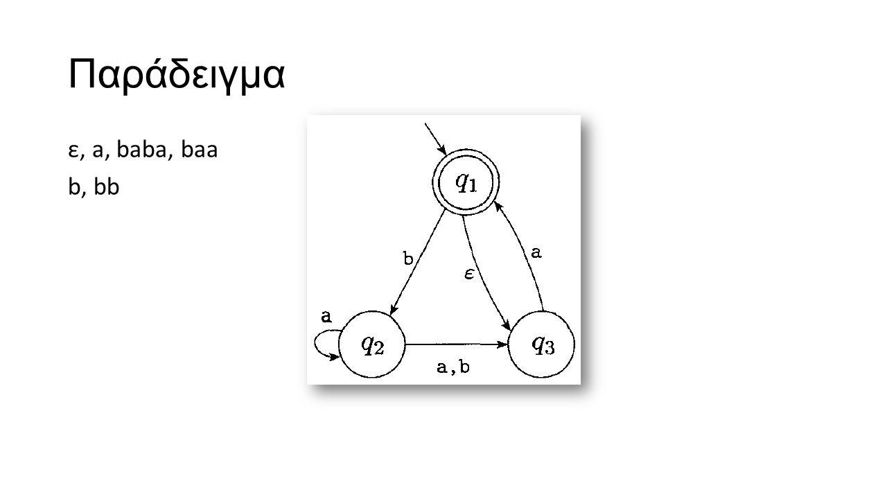 Παράδειγμα ε, a, baba, baa b, bb