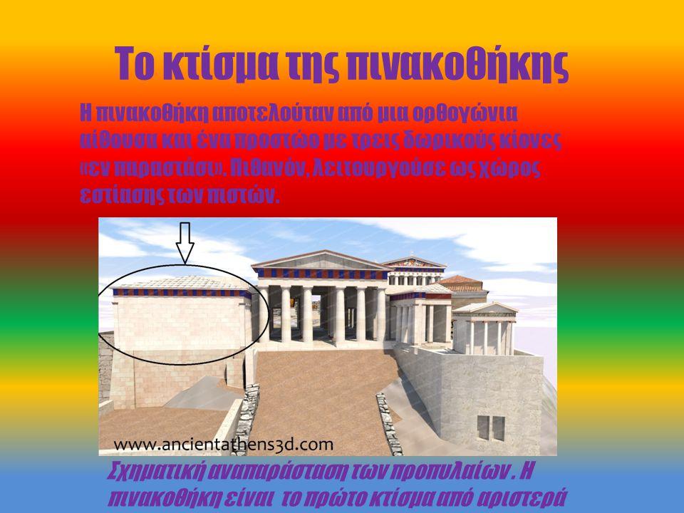 Το κτίσμα της πινακοθήκης Σχηματική αναπαράσταση των προπυλαίων. Η πινακοθήκη είναι το πρώτο κτίσμα από αριστερά Η πινακοθήκη αποτελούταν από μια ορθο