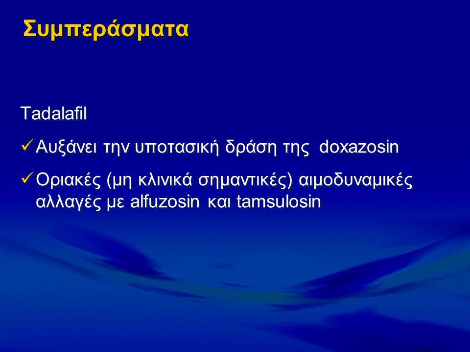 ΣυμπεράσματαΣυμπεράσματα Tadalafil Αυξάνει την υποτασική δράση της doxazosin Οριακές (μη κλινικά σημαντικές) αιμοδυναμικές αλλαγές με alfuzosin και ta