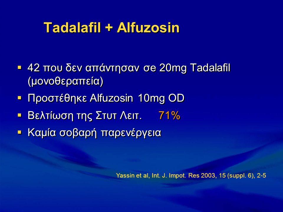 Tadalafil + Alfuzosin  42 που δεν απάντησαν σe 20mg Τadalafil (μονοθεραπεία)  Προστέθηκε Αlfuzosin 10mg OD  Βελτίωση της Στυτ Λειτ. 71%  Καμία σοβ