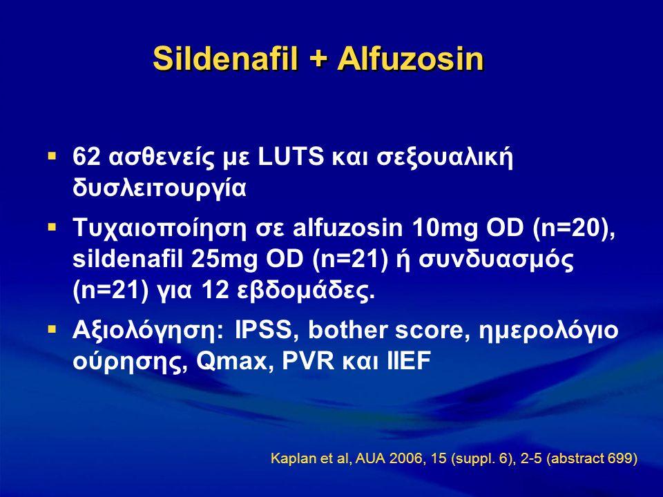  62 ασθενείς με LUTS και σεξουαλική δυσλειτουργία  Τυχαιοποίηση σε alfuzosin 10mg OD (n=20), sildenafil 25mg OD (n=21) ή συνδυασμός (n=21) για 12 εβ