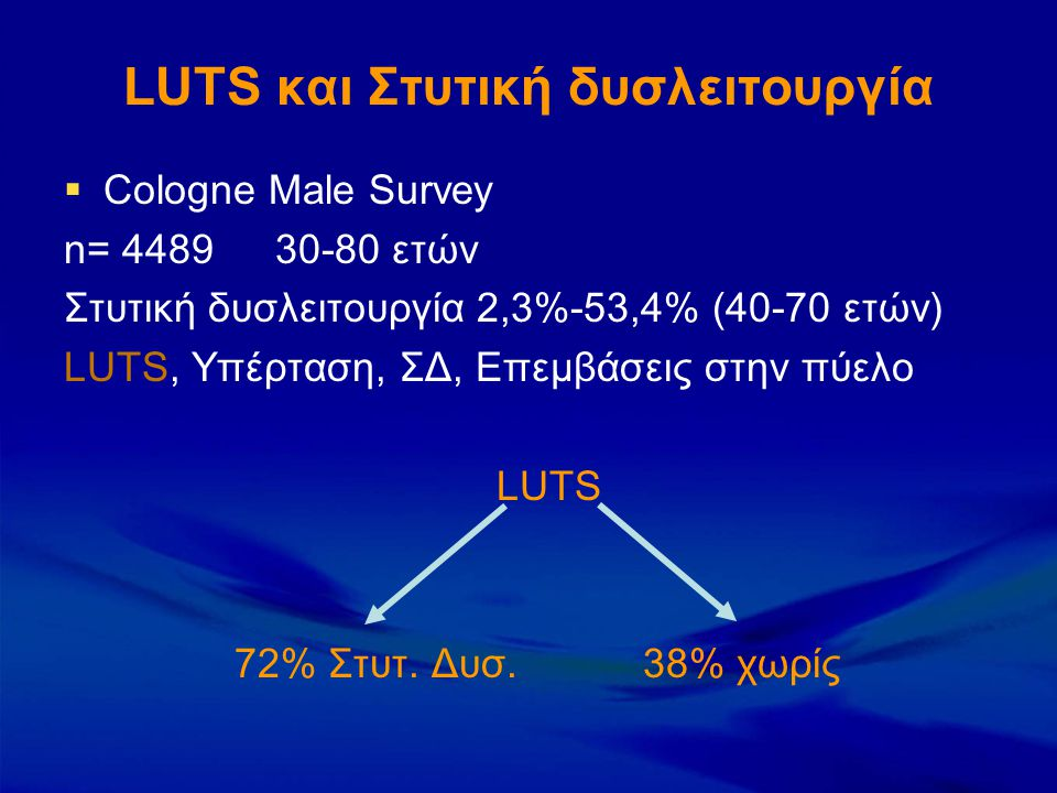 LUTS και Στυτική δυσλειτουργία  Cologne Male Survey n= 448930-80 ετών Στυτική δυσλειτουργία 2,3%-53,4% (40-70 ετών) LUTS, Υπέρταση, ΣΔ, Επεμβάσεις στ
