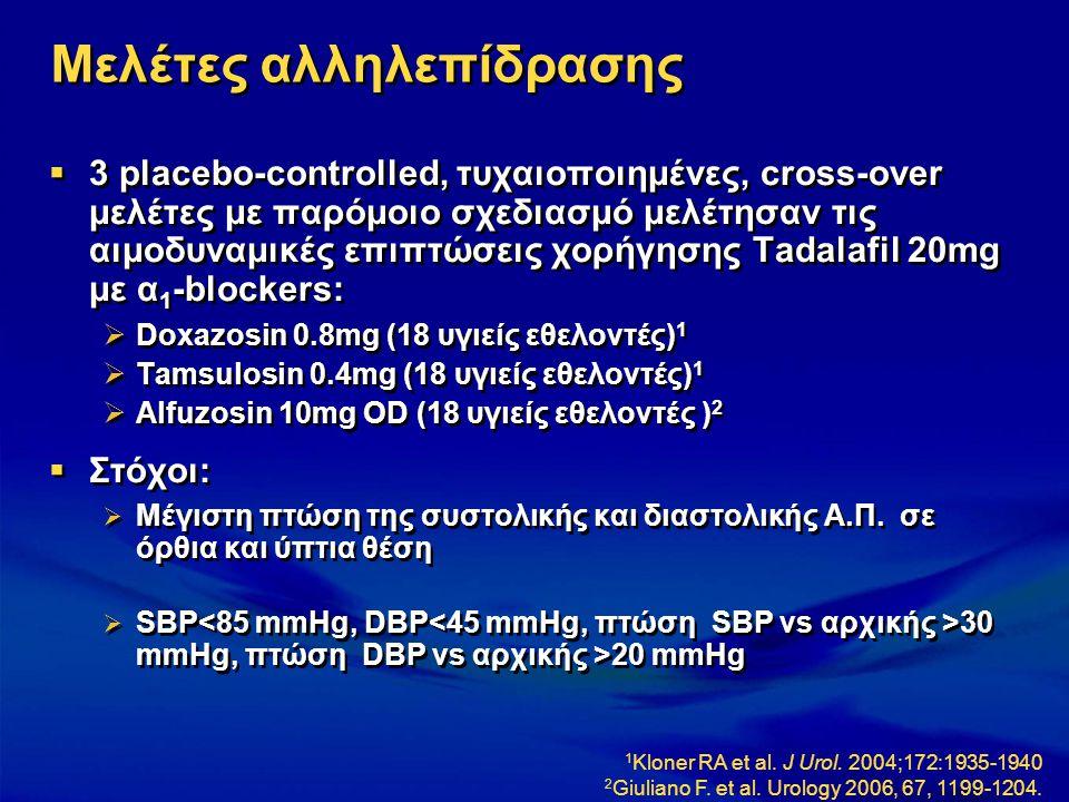Μελέτες αλληλεπίδρασης  3 placebo-controlled, τυχαιοποιημένες, cross-over μελέτες με παρόμοιο σχεδιασμό μελέτησαν τις αιμοδυναμικές επιπτώσεις χορήγη