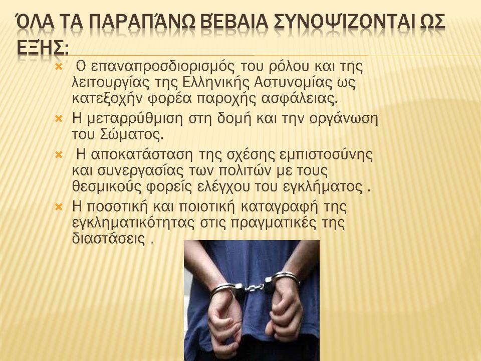  Ο επαναπροσδιορισμός του ρόλου και της λειτουργίας της Ελληνικής Αστυνομίας ως κατεξοχήν φορέα παροχής ασφάλειας.