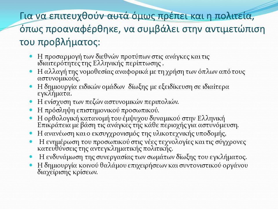 Για να επιτευχθούν αυτά όμως πρέπει και η πολιτεία, όπως προαναφέρθηκε, να συμβάλει στην αντιμετώπιση του προβλήματος: Η προσαρμογή των διεθνών προτύπων στις ανάγκες και τις ιδιαιτερότητες της Ελληνικής περίπτωσης.