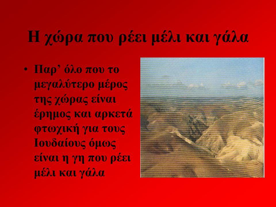 Η χώρα που ρέει μέλι και γάλα Παρ' όλο που το μεγαλύτερο μέρος της χώρας είναι έρημος και αρκετά φτωχική για τους Ιουδαίους όμως είναι η γη που ρέει μ