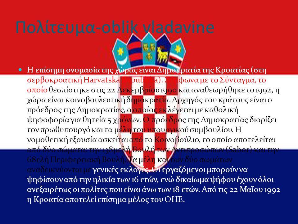 Πολίτευμα-oblik vladavine Η επίσημη ονομασία της χώρας είναι Δημοκρατία της Κροατίας (στη σερβοκροατική Harvatska Republika). Σύμφωνα με το Σύνταγμα,