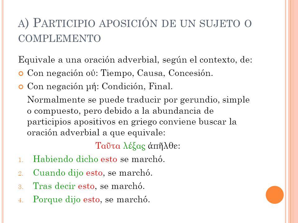 A ) P ARTICIPIO APOSICIÓN DE UN SUJETO O COMPLEMENTO Equivale a una oración adverbial, según el contexto, de: Con negación ο ὐ : Tiempo, Causa, Conces