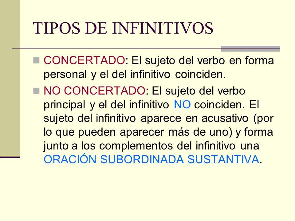 TIPOS DE INFINITIVOS CONCERTADO: El sujeto del verbo en forma personal y el del infinitivo coinciden. NO CONCERTADO: El sujeto del verbo principal y e