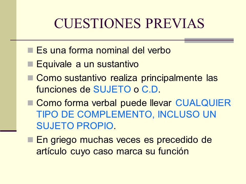CUESTIONES PREVIAS Es una forma nominal del verbo Equivale a un sustantivo Como sustantivo realiza principalmente las funciones de SUJETO o C.D. Como