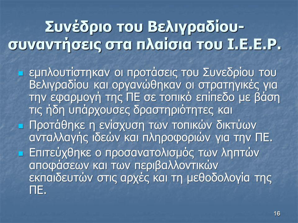 16 Συνέδριο του Βελιγραδίου- συναντήσεις στα πλαίσια του I.E.E.P. εμπλουτίστηκαν οι προτάσεις του Συνεδρίου του Βελιγραδίου και οργανώθηκαν οι στρατηγ