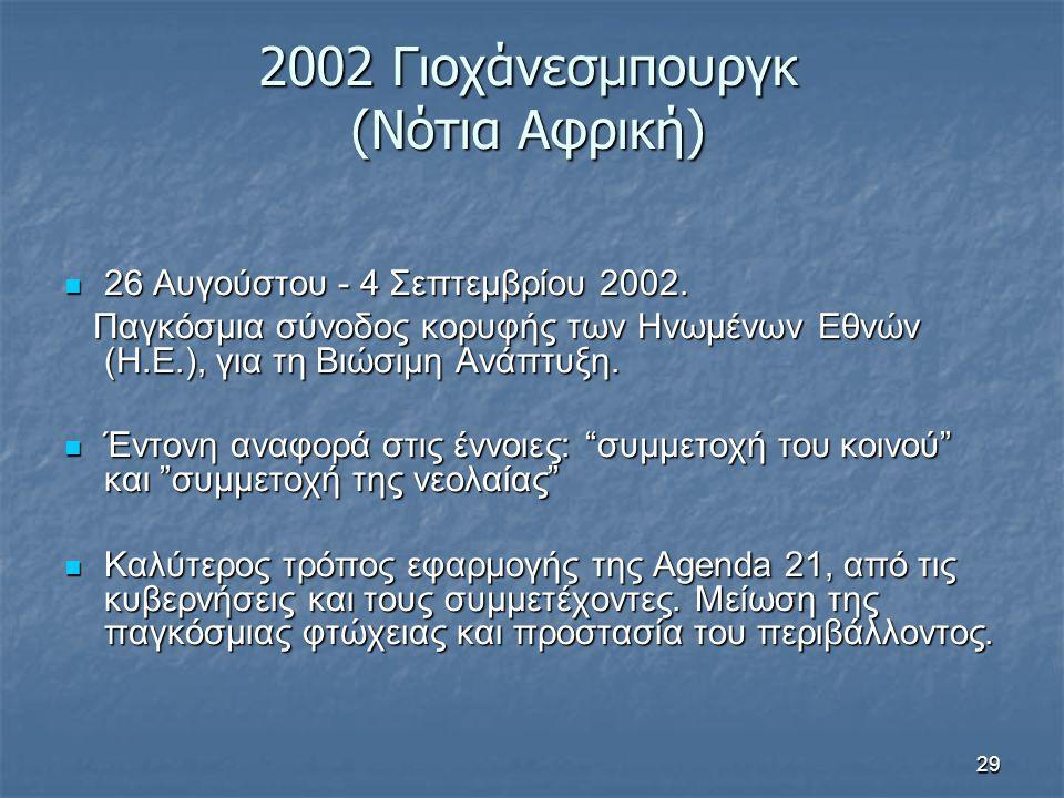 29 2002 Γιοχάνεσμπουργκ (Νότια Αφρική) 26 Αυγούστου - 4 Σεπτεμβρίου 2002. 26 Αυγούστου - 4 Σεπτεμβρίου 2002. Παγκόσμια σύνοδος κορυφής των Ηνωμένων Εθ