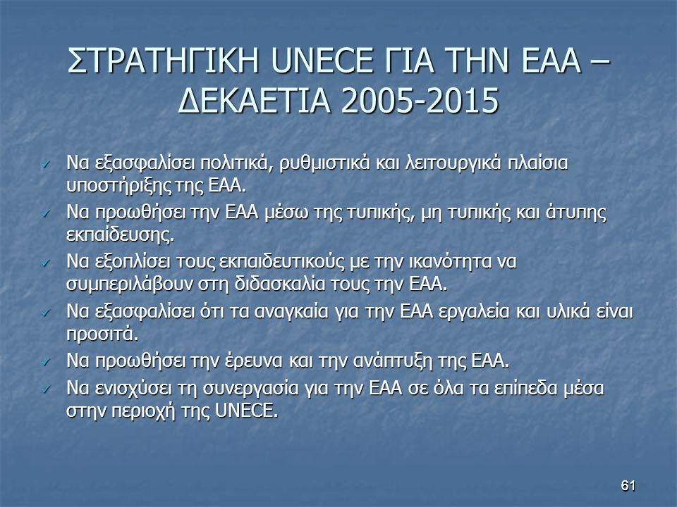 61 ΣΤΡΑΤΗΓΙΚΗ UNECE ΓΙΑ ΤΗΝ ΕΑΑ – ΔΕΚΑΕΤΙΑ 2005-2015 Να εξασφαλίσει πολιτικά, ρυθμιστικά και λειτουργικά πλαίσια υποστήριξης της ΕΑΑ.