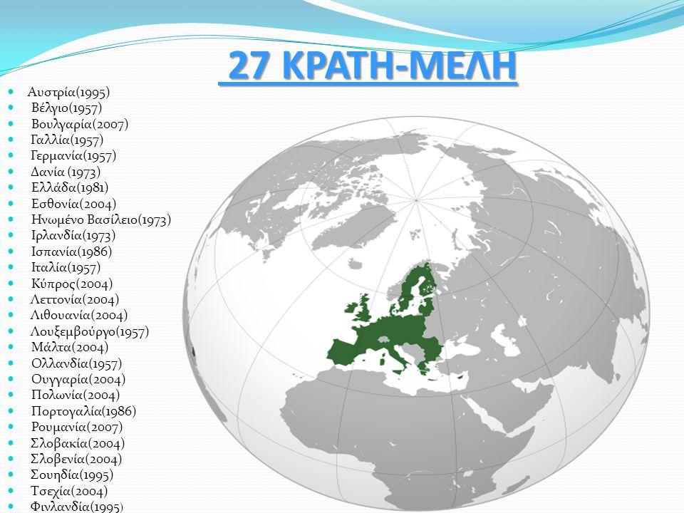 27 ΚΡΑΤΗ-ΜΕΛΗ 27 ΚΡΑΤΗ-ΜΕΛΗ Αυστρία(1995) Βέλγιο(1957) Βουλγαρία(2007) Γαλλία(1957) Γερμανία(1957) Δανία (1973) Ελλάδα(1981) Εσθονία(2004) Ηνωμένο Βασ