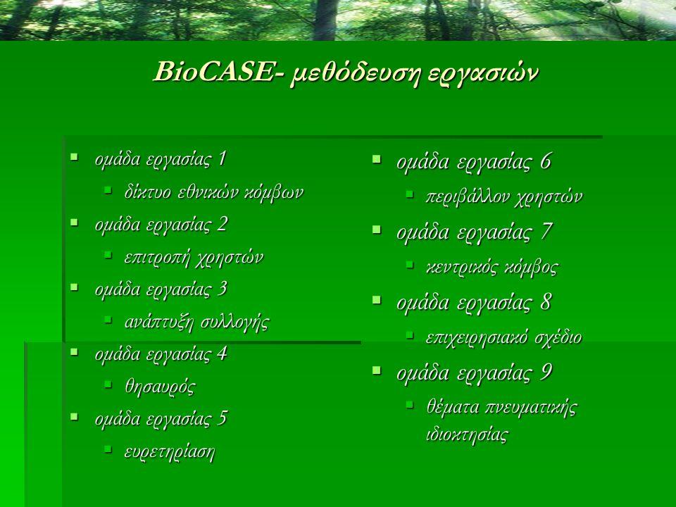 BioCASE- μεθόδευση εργασιών  ομάδα εργασίας 1  δίκτυο εθνικών κόμβων  ομάδα εργασίας 2  επιτροπή χρηστών  ομάδα εργασίας 3  ανάπτυξη συλλογής 