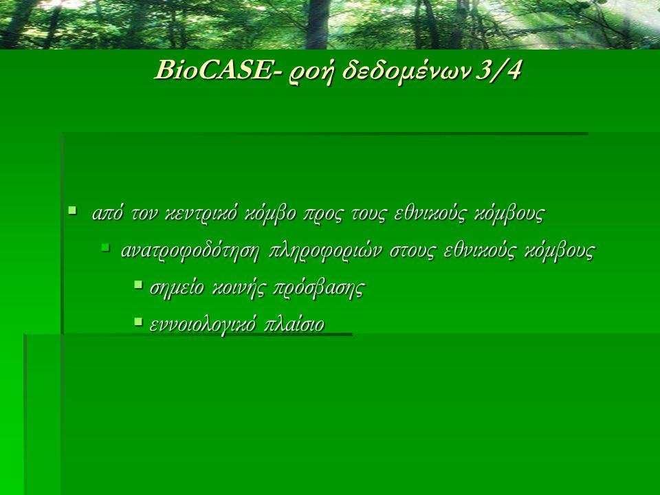 BioCASE- ροή δεδομένων 3/4  από τον κεντρικό κόμβο προς τους εθνικούς κόμβους  ανατροφοδότηση πληροφοριών στους εθνικούς κόμβους  σημείο κοινής πρό