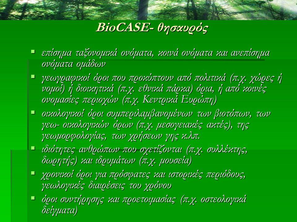 BioCASE- θησαυρός  επίσημα ταξονομικά ονόματα, κοινά ονόματα και ανεπίσημα ονόματα ομάδων  γεωγραφικοί όροι που προκύπτουν από πολιτικά (π.χ. χώρες