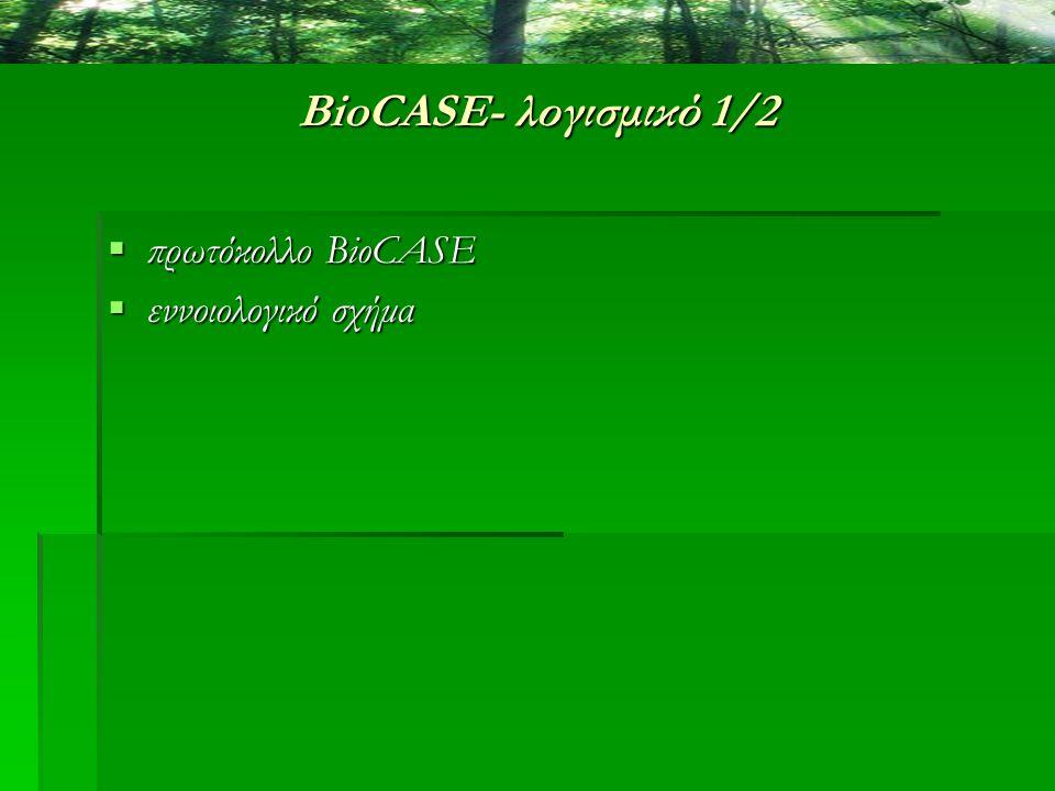BioCASE- λογισμικό 1/2  πρωτόκολλο BioCASE  εννοιολογικό σχήμα