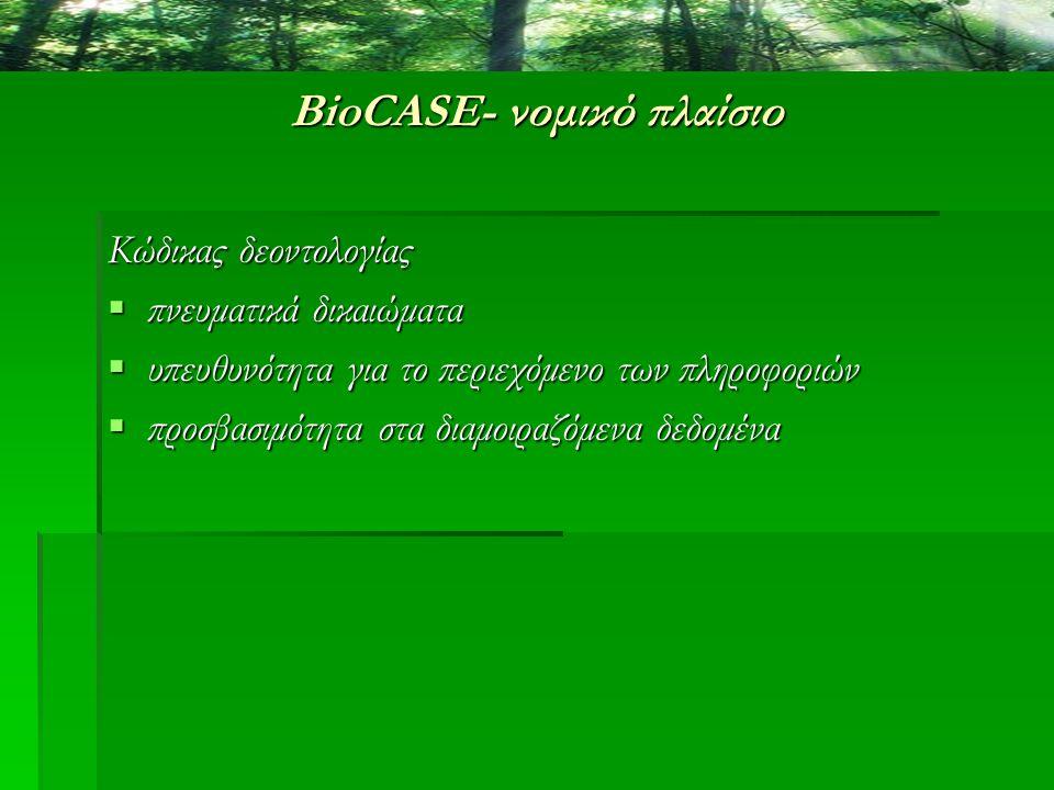 BioCASE- νομικό πλαίσιο Κώδικας δεοντολογίας  πνευματικά δικαιώματα  υπευθυνότητα για το περιεχόμενο των πληροφοριών  προσβασιμότητα στα διαμοιραζό