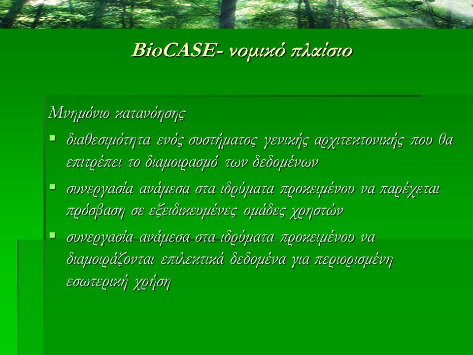 BioCASE- νομικό πλαίσιο Μνημόνιο κατανόησης  διαθεσιμότητα ενός συστήματος γενικής αρχιτεκτονικής που θα επιτρέπει το διαμοιρασμό των δεδομένων  συν