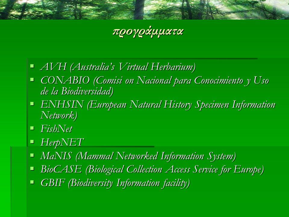 προγράμματα AAAAVH (Australia's Virtual Herbarium) CCCCONABIO (Comisi on Nacional para Conocimiento y Uso de la Biodiversidad) EEEENHSIN (