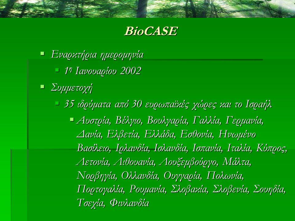 BioCASE Στόχοι  η ανάπτυξη κοινών διαδικασιών για δικτύωση και διαμοιρασμό δεδομένων ανάμεσα στις βιολογικές συλλογές της Ευρώπης  η εφαρμογή μιας υποστηριζόμενης και επεκτάσιμης υπηρεσίας πρόσβασης σε βιολογικές συλλογές για την Ευρώπη  η δημιουργία ενός πρωτοποριακού συστήματος με μετρήσιμα ποσά δεδομένων  ένα επιχειρησιακό μοντέλο για την ανάπτυξη και τη διατήρηση της υπηρεσίας  μια λειτουργική μεθοδολογία για αυξανόμενη παραγωγή των αποτελεσμάτων της έρευνας