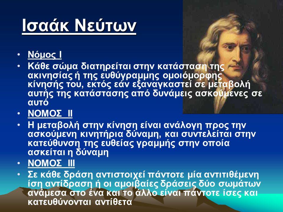 Ισαάκ Νεύτων Ισαάκ Νεύτων Νόμος Ι Κάθε σώμα διατηρείται στην κατάσταση της ακινησίας ή της ευθύγραμμης ομοιόμορφης κίνησής του, εκτός εάν εξαναγκαστεί