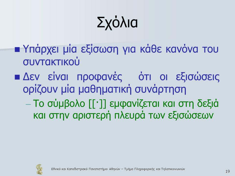 Εθνικό και Καποδιστριακό Πανεπιστήμιο Αθηνών – Τμήμα Πληροφορικής και Τηλεπικοινωνιών 19 Σχόλια Υπάρχει μία εξίσωση για κάθε κανόνα του συντακτικού Δεν είναι προφανές ότι οι εξισώσεις ορίζουν μία μαθηματική συνάρτηση – Το σύμβολο [[·]] εμφανίζεται και στη δεξιά και στην αριστερή πλευρά των εξισώσεων