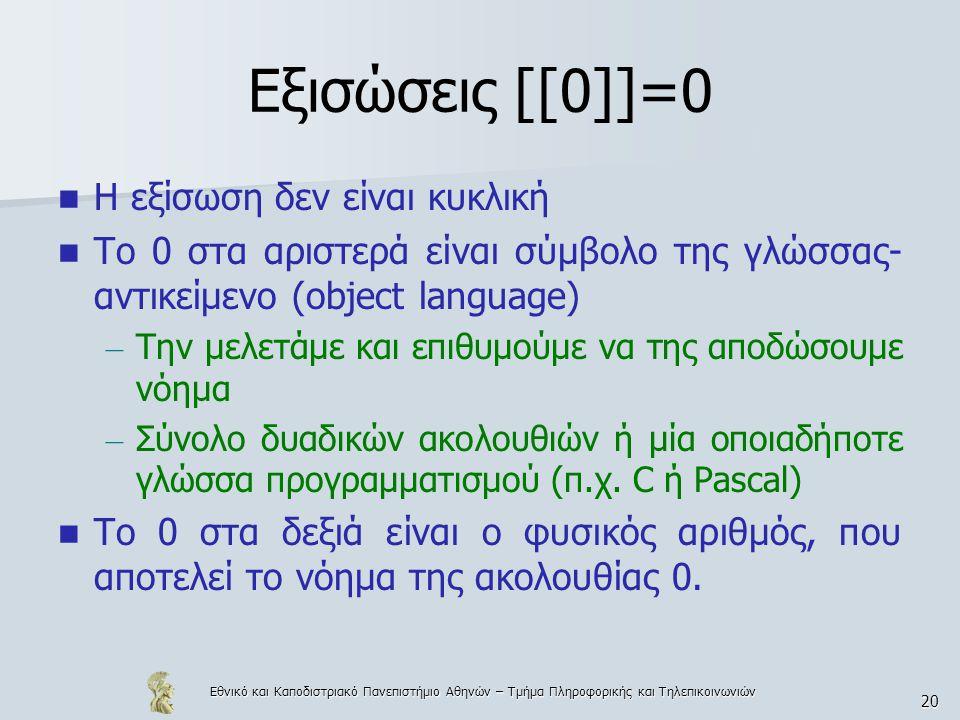 Εθνικό και Καποδιστριακό Πανεπιστήμιο Αθηνών – Τμήμα Πληροφορικής και Τηλεπικοινωνιών 20 Εξισώσεις [[0]]=0 Η εξίσωση δεν είναι κυκλική Το 0 στα αριστερά είναι σύμβολο της γλώσσας- αντικείμενο (object language) – Την μελετάμε και επιθυμούμε να της αποδώσουμε νόημα – Σύνολο δυαδικών ακολουθιών ή μία οποιαδήποτε γλώσσα προγραμματισμού (π.χ.