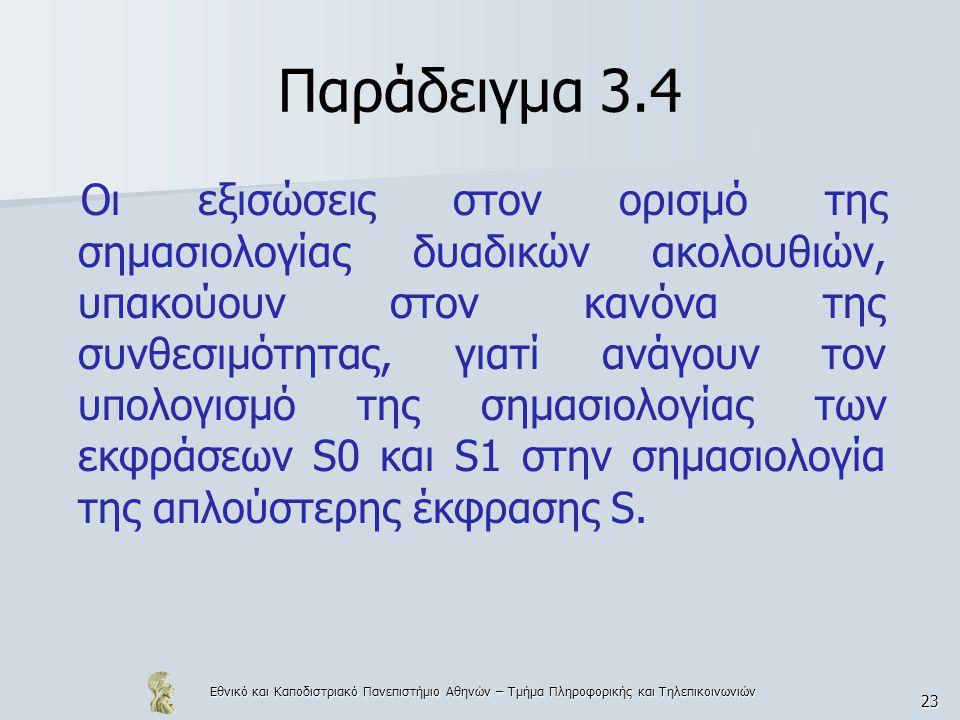 Εθνικό και Καποδιστριακό Πανεπιστήμιο Αθηνών – Τμήμα Πληροφορικής και Τηλεπικοινωνιών 24 Παράδειγμα 3.4 [[while B do C]]=[[if B then (C; while B do C)]] Ο παραπάνω ορισμός δεν υπακούει στον κανόνα της συνθεσιμότητας.