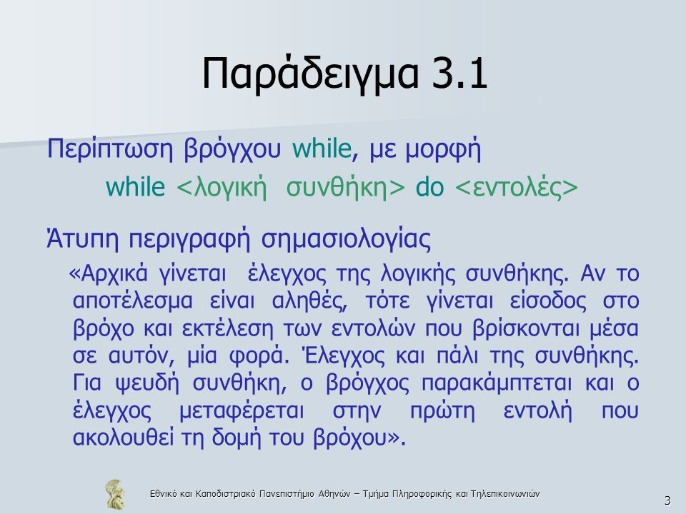Εθνικό και Καποδιστριακό Πανεπιστήμιο Αθηνών – Τμήμα Πληροφορικής και Τηλεπικοινωνιών 4 Παράδειγμα 3.2 Ερώτηση: Είναι στην ALGOL 60 ισοδύναμες οι εκφράσεις x+f(x) και f(x)+x; Απάντηση: Εξαρτάται από το αν η f αλλάζει την τιμή του x.