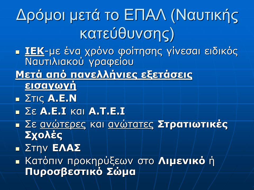 Δρόμοι μετά το ΕΠΑΛ (Ναυτικής κατεύθυνσης) ΙΕΚ-με ένα χρόνο φοίτησης γίνεσαι ειδικός Ναυτιλιακού γραφείου ΙΕΚ-με ένα χρόνο φοίτησης γίνεσαι ειδικός Να
